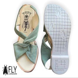 Fly London Light Green & Rose Gold Leather Twist Sandals